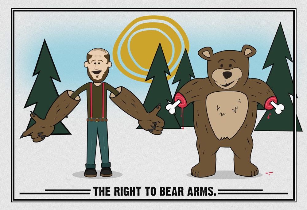 """an argument that there is a limit in the right to bear arms in the us """"the former does not limit the latter grammatically,  scalia clearly stated in heller that the right to bear arms had  is there a right to attach stuff."""