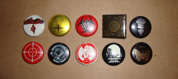 Buttons from MMMs (Akira is not official and City of Lost Children is upside down)