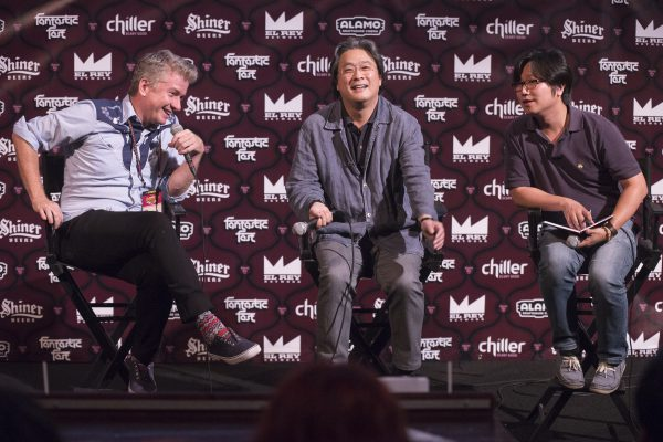 Tim League, Park Chan-wook and translator (Photo by Arnold Wells)